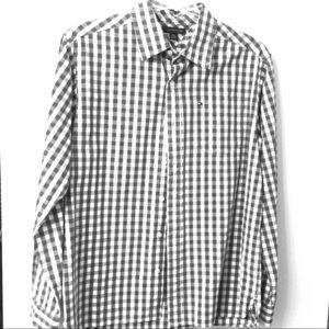 Grey/white check button down